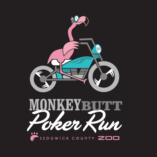 Monkey Butt Poker Run Character Illustration, we created an graphic flamingo fitting with the style of the Poker Run that benefits the Sedgwick County Zoo.