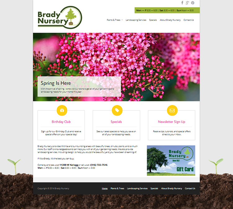 Website development for Brady Nursery complete with analytics to track their customer reach