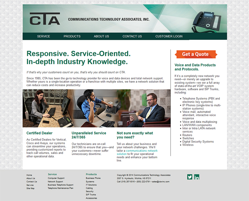 Communciations Technology Associates Web Design. PHP, HTML, and CSS coded to fit the client's needs.