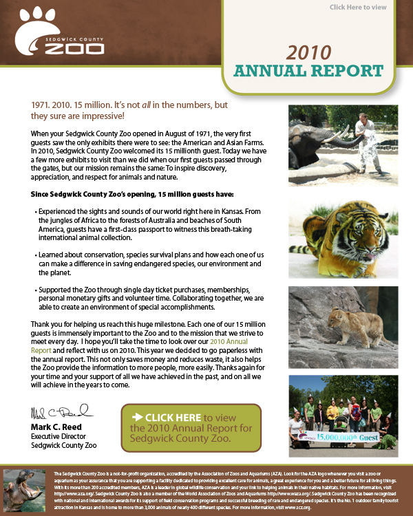 Annual Report for Sedgwick County Zoo