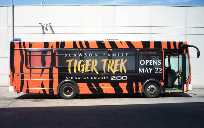 We work will local companies to print bus wraps