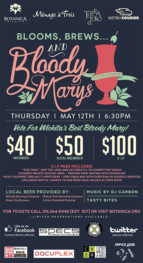 Blooms, Brews, and Bloody Marys Wichita Eagle Newspaper Ad