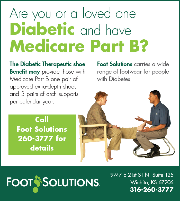 Foot Solutions Diabetic and Medicare Focus ad. Utilizing company branding this local store markets in Wichita but fits with the other visual identity of their company