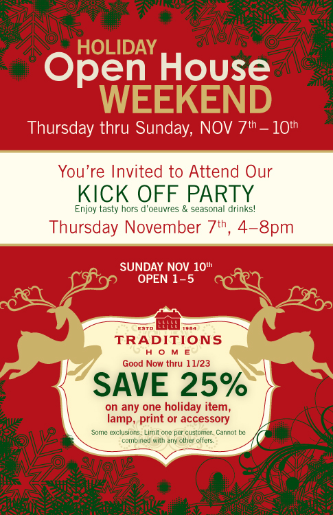 Holiday Open House. Feel the holiday season with this traditional direct mail
